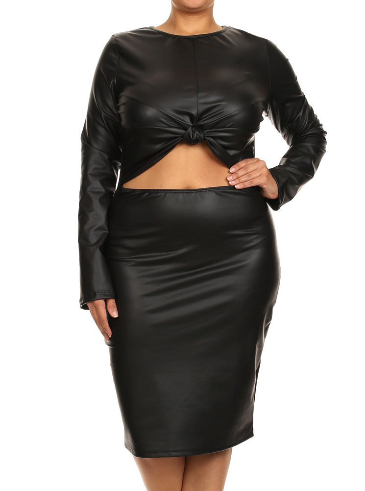 Plus Size Sweet Bow Midriff Cut Out Leather Dress