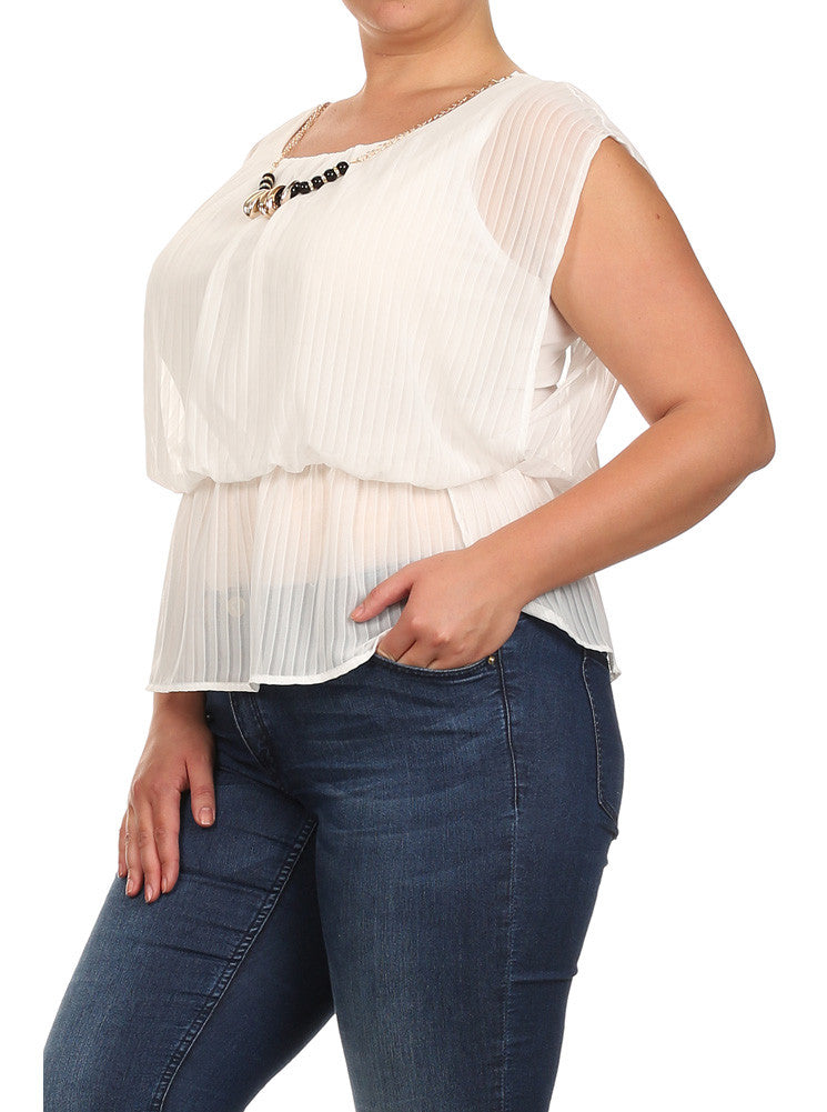 Plus Size Glam Drop Waist Sheer White Blouse