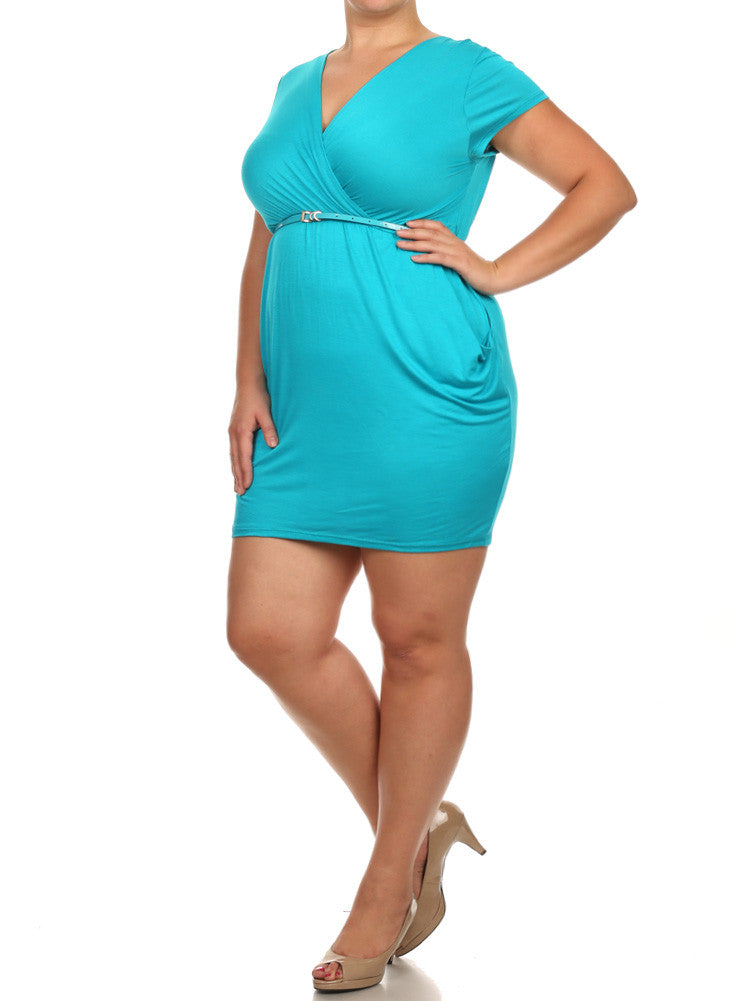 Plus Size Modish Surplice Belted Teal Dress