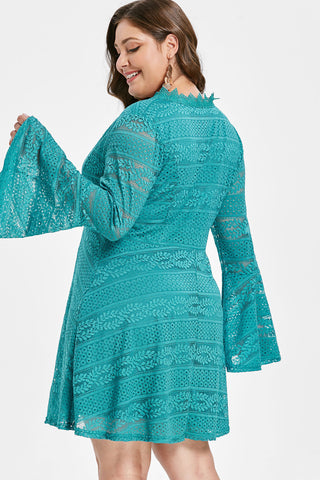 Plus Size Beautiful Lace Bell Sleeve V Neck Flare Dress