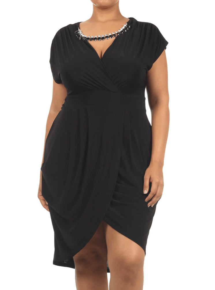 Plus Size Night Charmer Glam Pleated Dress