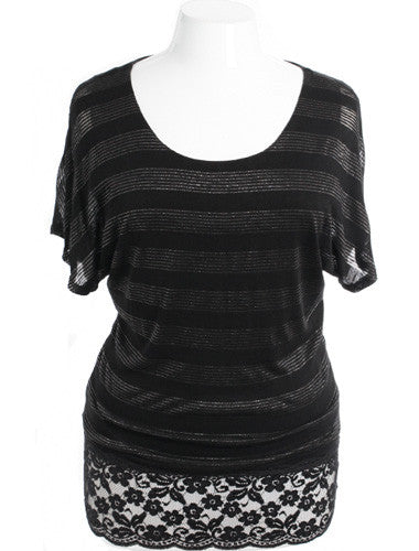 Plus Size Adorable Sparkling Stripe Lace Black Top