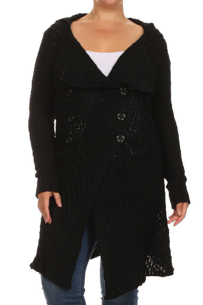 Plus Size Cozy Knit Black Cardigan