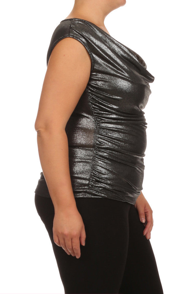 Plus Size Draped Gleaming Silver Top
