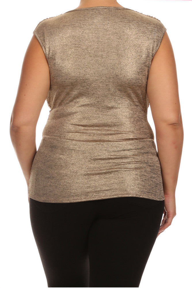 Plus Size Draped Gleaming Gold Top