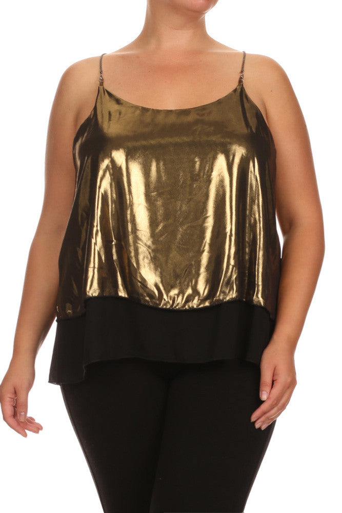 Plus Size Layered Chain Straps Shiny Top
