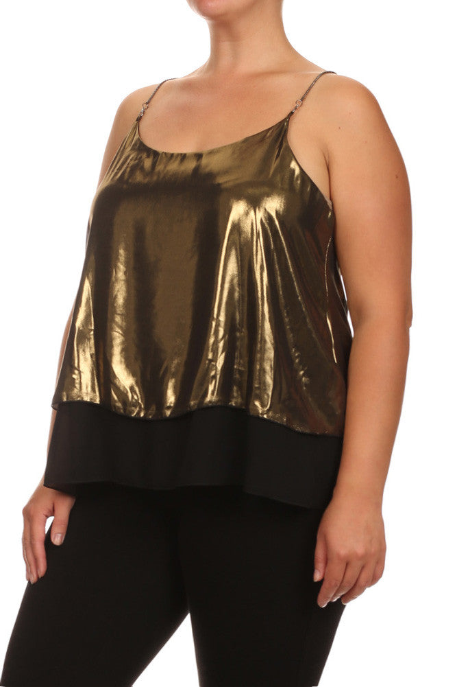 Plus Size Layered Chain Straps Shiny Gold Top