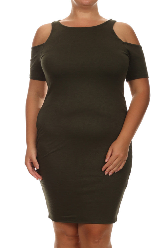 Plus Size Bare Shoulders Dark Green Midi Dress