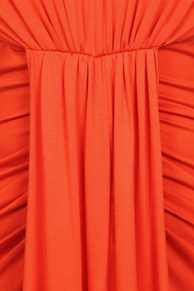 Plus Size Lovely Draped Dip Hem Orange Maxi Dress