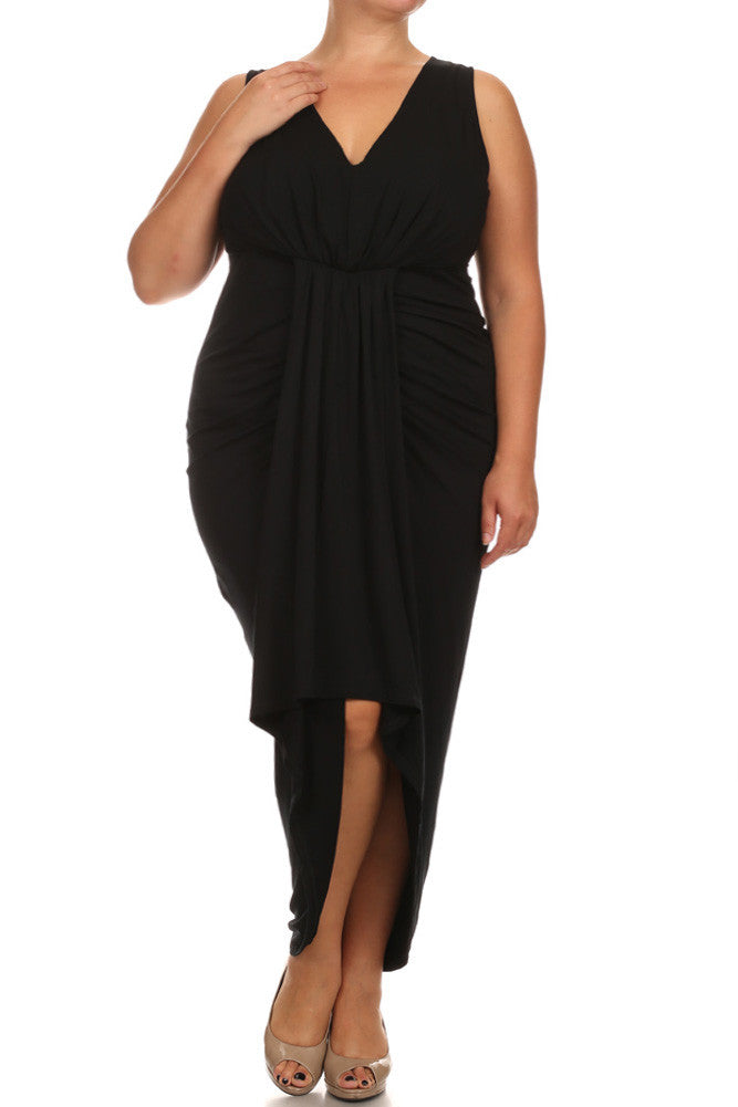 Plus Size Lovely Draped Dip Hem Black Maxi Dress