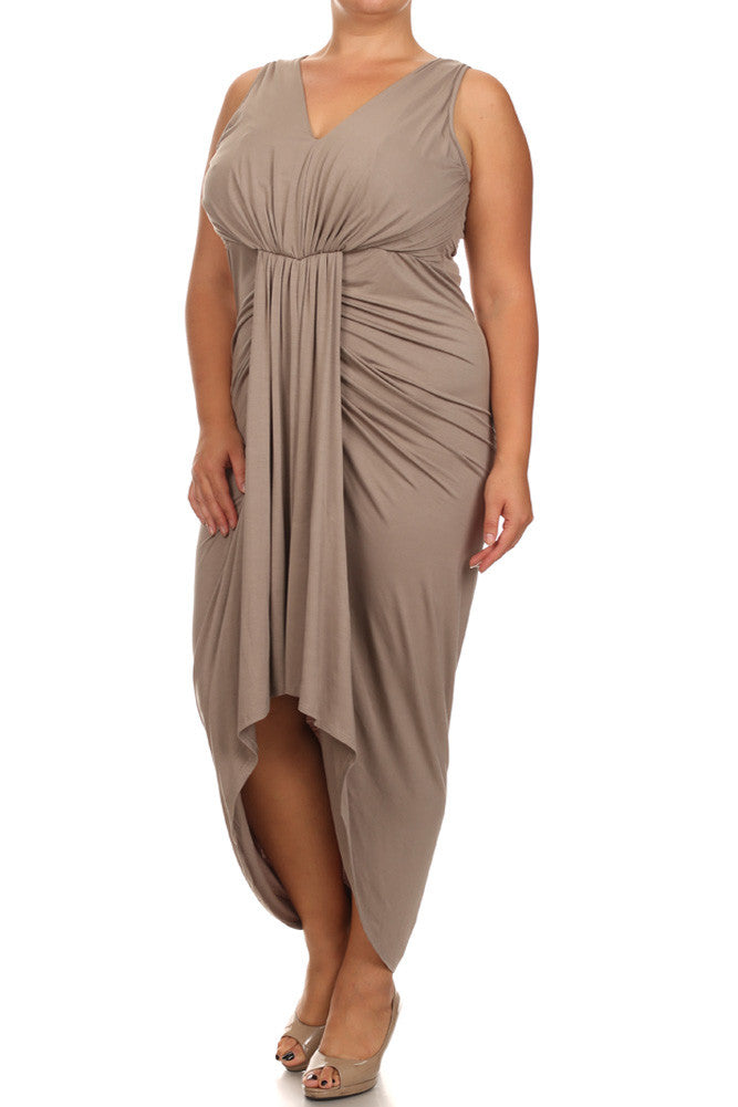 Plus Size Lovely Draped Dip Hem Taupe Maxi Dress