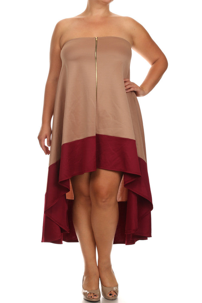 Plus Size Color Block Tan A line Dip Hem Dress