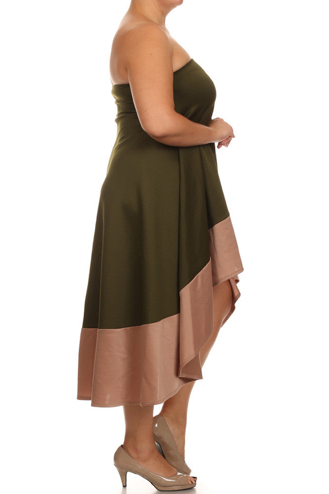 Plus Size Color Block Olive A line Dip Hem Dress