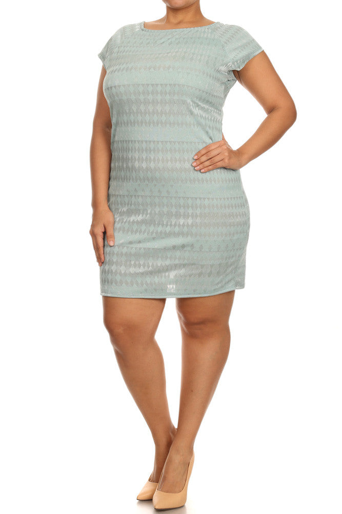 Plus Size Crossed Back Diamond Texture Dress