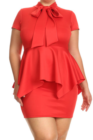 Bow Neckline Key Hole Plus Size Dress