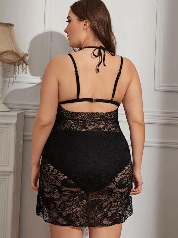 Plus Size Floral Lace Halter Dress With Thong