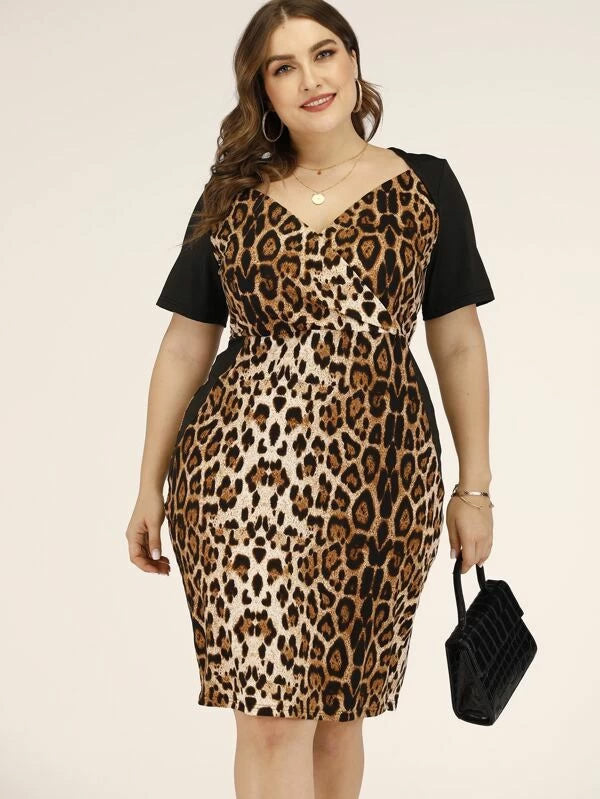 Plus Size Leopard Print Surplice Fitted Dress