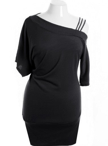 Plus Size Off Shoulder Designer Series Black Dress