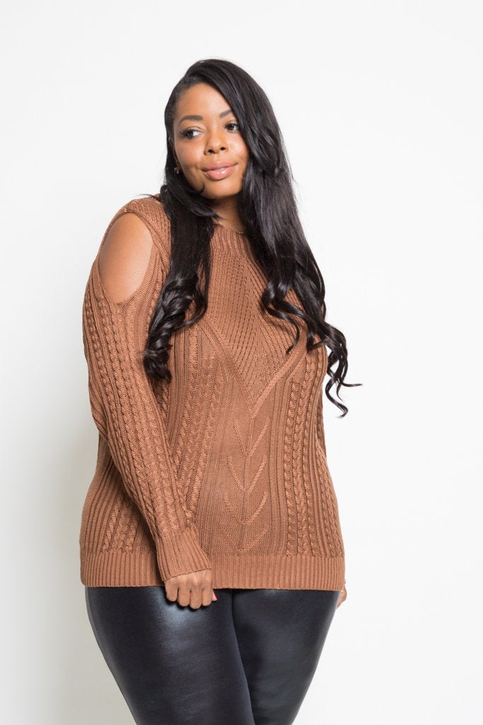 fea95870bac Plus Size Detailed Cold Shoulder Sweater  SALE  – Plussizefix