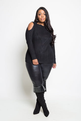 Plus Size Detailed Cold Shoulder Sweater
