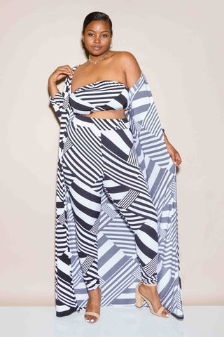Plus Size 3 Piece Summer Geo Stripe Jumpsuit Set
