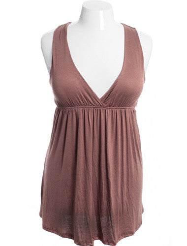 Plus Size Sexy V-Neck Taupe Tank Dress