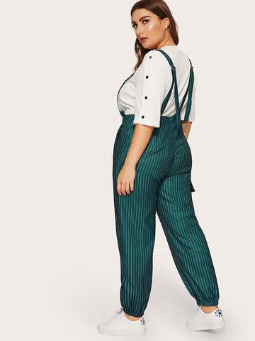 Plus Size Striped Pocket Side Jumpsuit