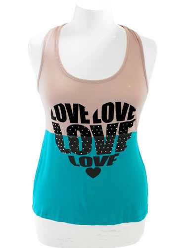 Plus Size Sexy Love Teal Tank Top