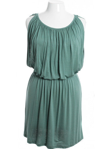 Plus Size Sexy Gathered Classic Tank Soft Teal Dress