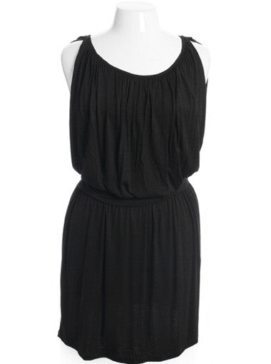 Plus Size Sexy Gathered Classic Tank Black Dress