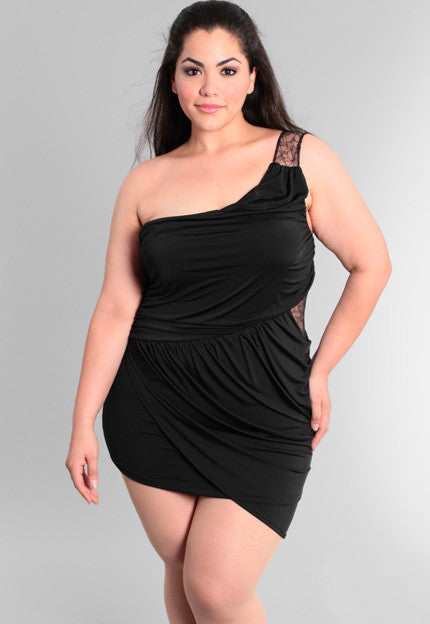 Plus Size One Shoulder Sexy  Lace Layered Dress