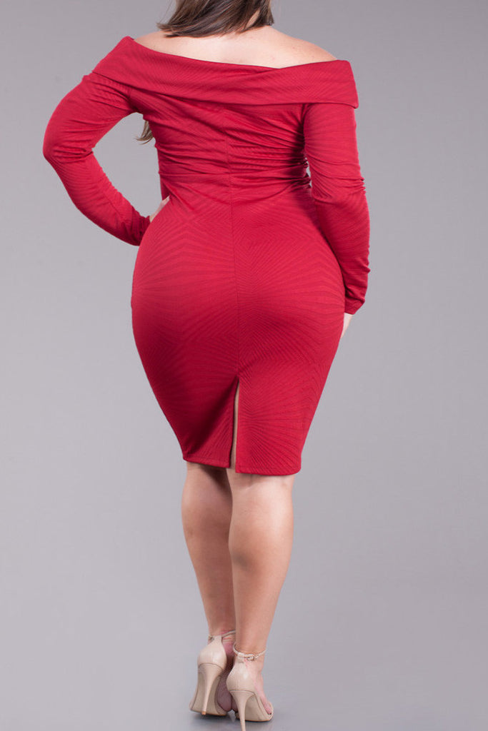 Diamond Gal Off Shoulder Plus Size Midi Dress