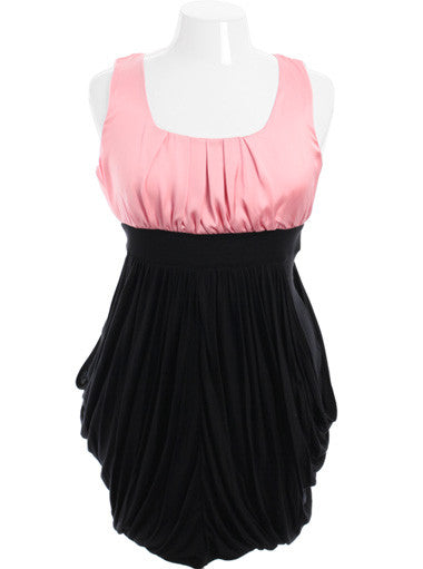 Plus Size Pleated Black and Pink Pocket Dress