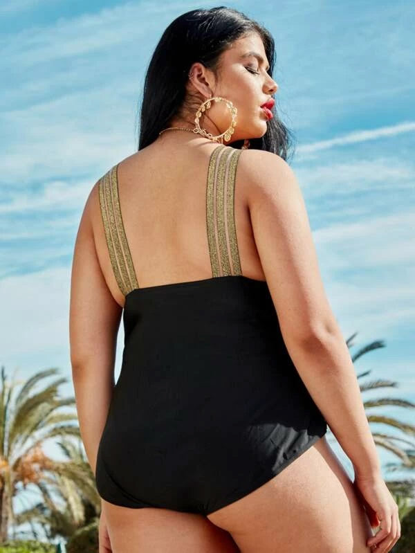 Plus Size Contrast Mesh One Piece Swimwear