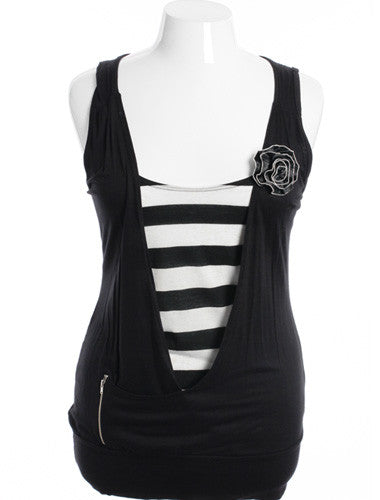 Plus Size Get It Girl Striped Black Tank