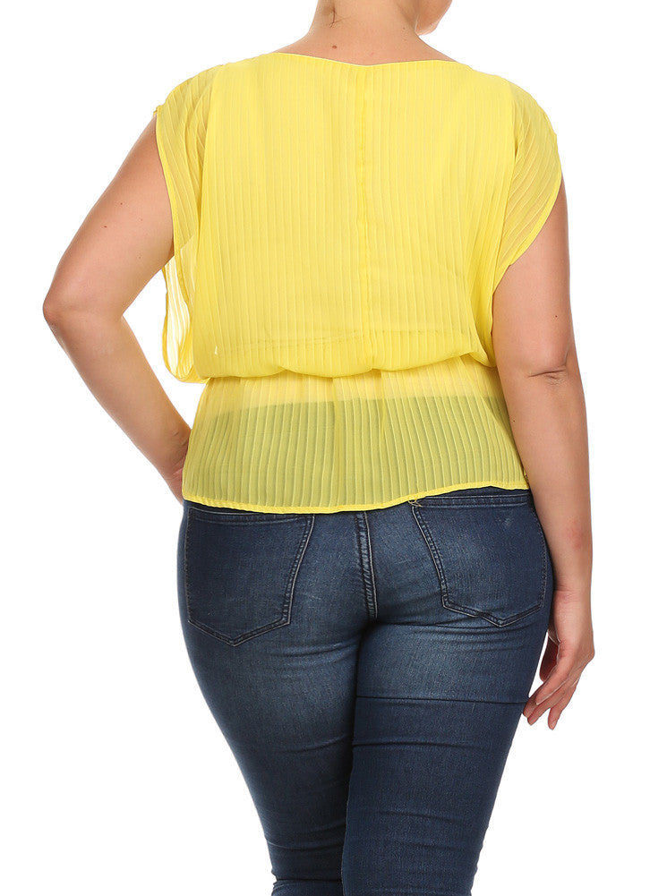 Plus Size Glam Drop Waist Sheer Yellow Blouse