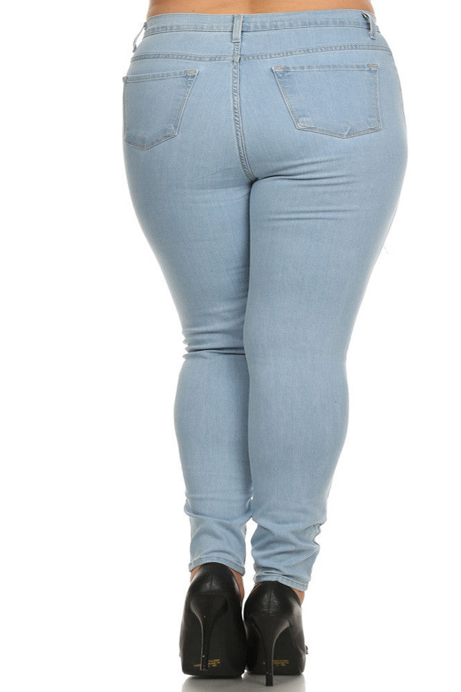 Plus Size Let's Rock High Waist Slashed Light Blue Denim Jeans