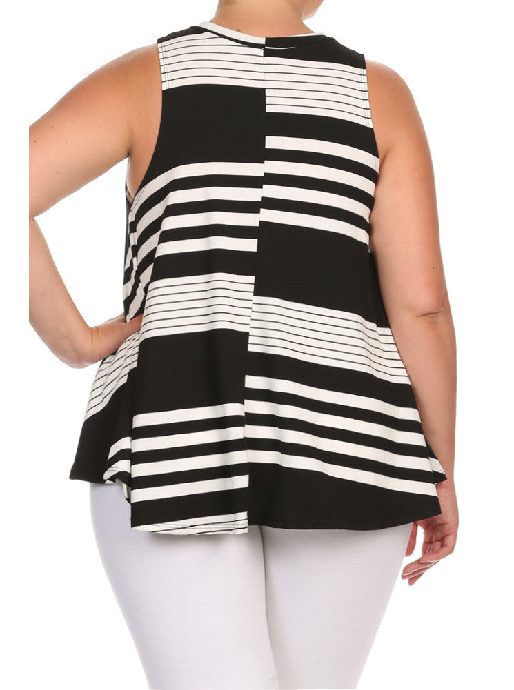 Plus Size Everyday Chic Striped A Line Top