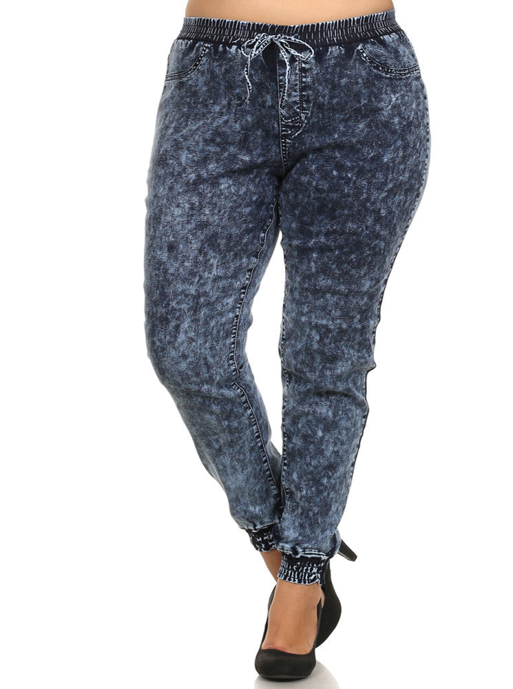 Plus Size Acid Wash Jogger Pants
