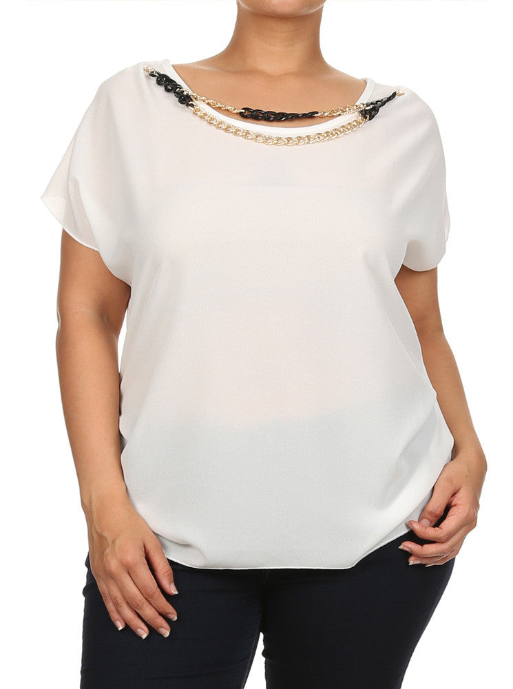 Plus Size Ravishing Chains Ruched Sheer White Top