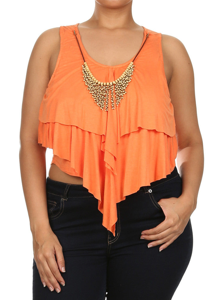 Plus Size Sweet Thing Orange Crop Top