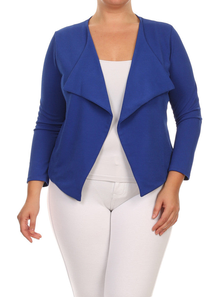 Plus Size Fashionista Drapey Open Front Blue Jacket