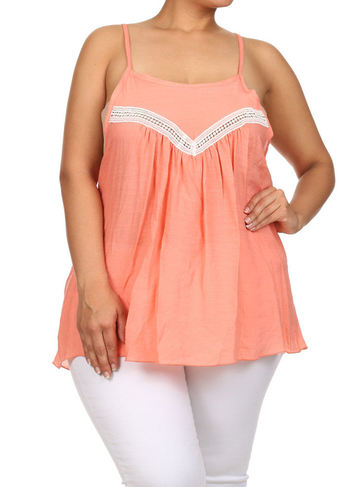 Plus Size Lovely Peasant Coral Flowy Top