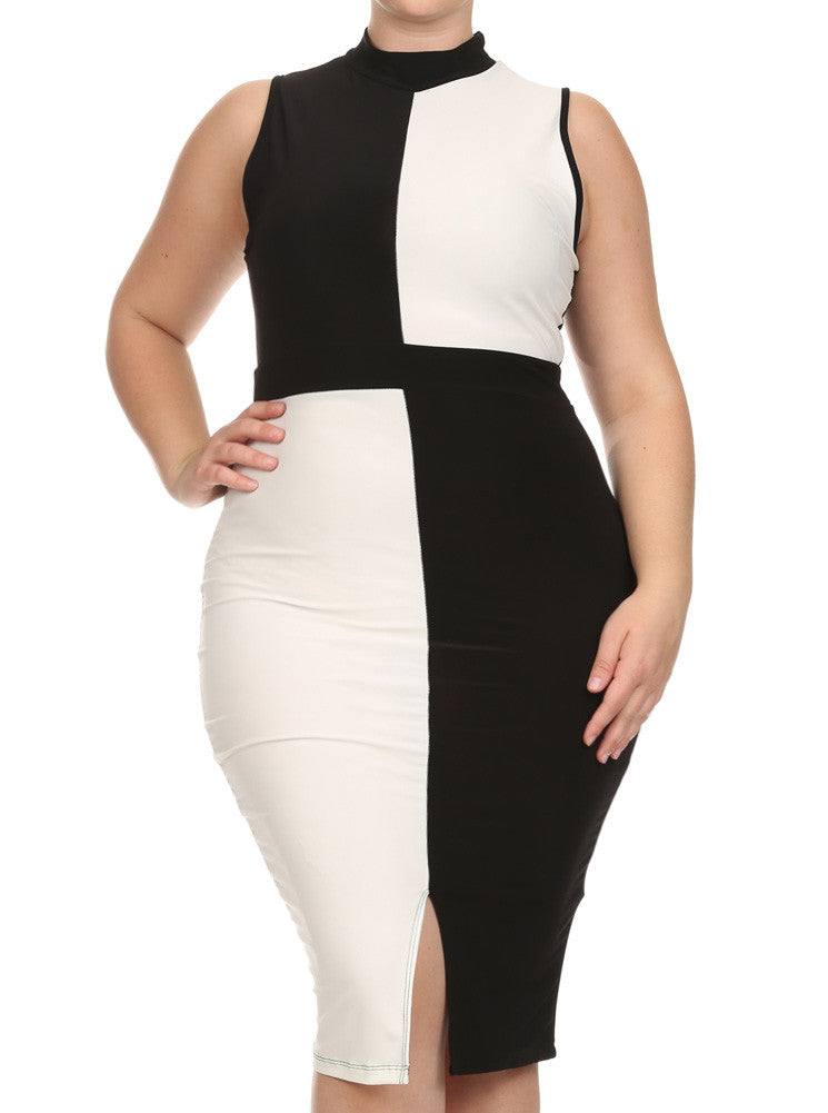 Plus Size Color Block Paneled White Midi Dress