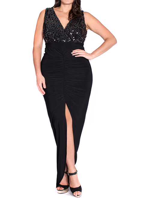 Plus Size Dazzling Sequins Ruched Fishtail Maxi Dress