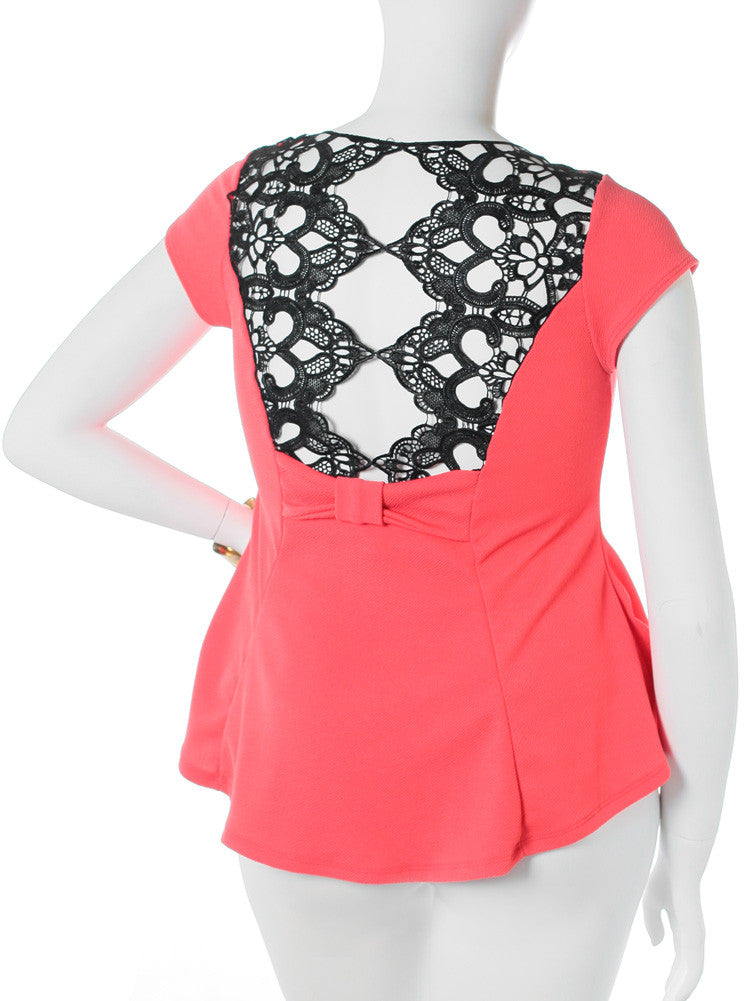 Plus Size See Through Back Flare Coral Top
