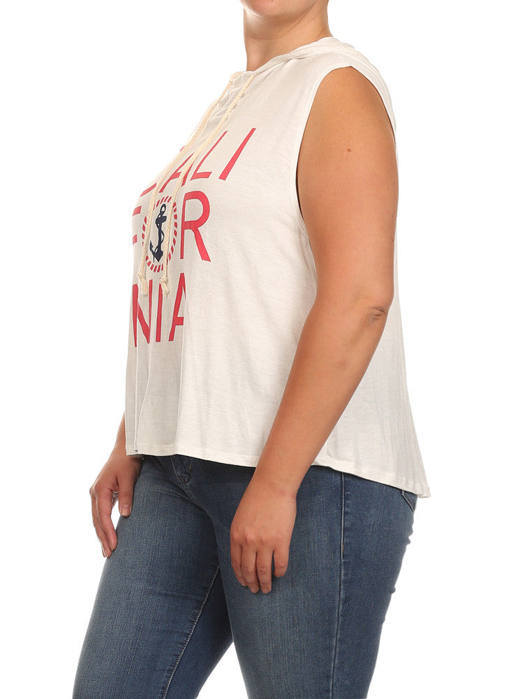 Plus Size California Sleeveless Hoodie White Top