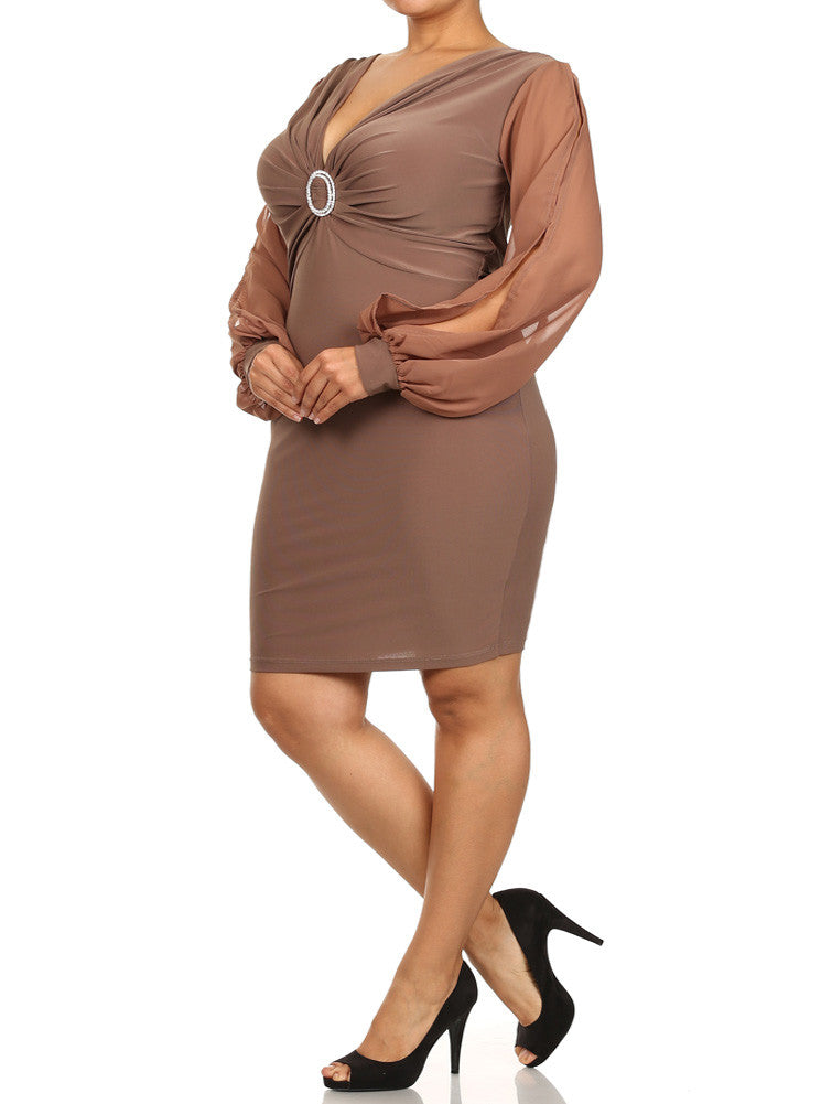 Plus Size Cut Out Sheer Sleeves Rhinestone Ring Tan Dress