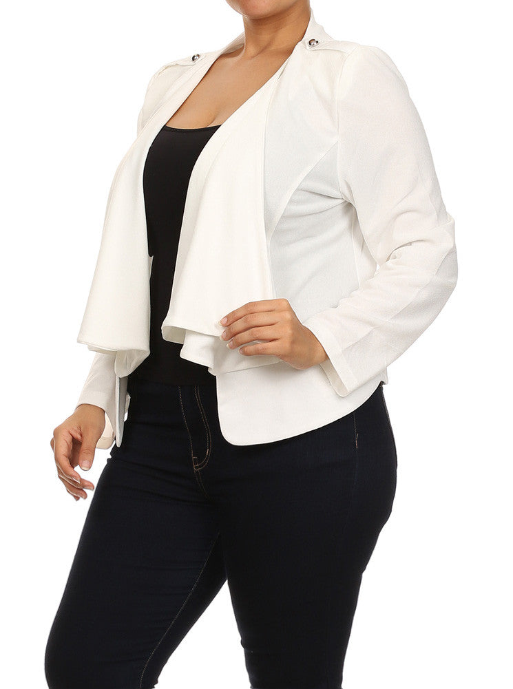 Plus Size Casual Friday Open Front White Jacket