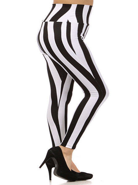 Plus Size High Waist Mod Stripe Leggings
